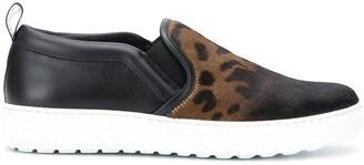Salvatore Ferragamo Pre Owned Leopard Fun print slip-on sneakers