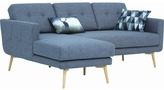 Seal Blue Stream Modern 3 Seater Sofa with Chaise Chaise Side: Left