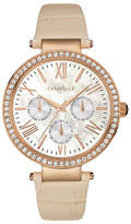 Caravelle New York Multifunction Analog The Rose Gold Collection Leather Strap Watch