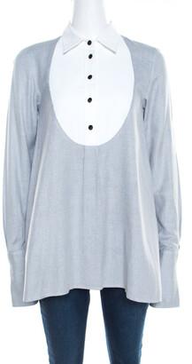Paul & Joe Grey Basketweave Cotton Contrast Yoke Long Sleeve Top ( One Size )