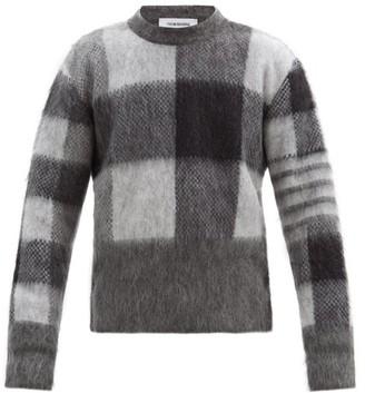 Thom Browne Four-bar Check-jacquard Mohair-blend Sweater - Grey