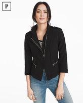 White House Black Market Petite Asymmetrical Zip-Front Bracelet Sleeve Moto Jacket