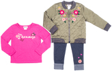 Little Lass Raspberry Floral Quilted Jacket Set - Infant