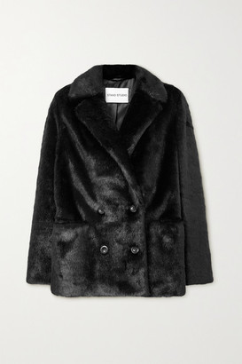 Stand Studio Annabelle Double-breasted Faux Pony Hair Blazer - Black