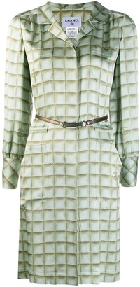 Chanel Pre Owned Checked Shirt Dress