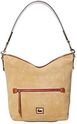 Dooney & Bourke Camden Fielding Suede Hobo (Black/Brandy Trim) Handbags