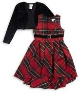Sweet Heart Rose Sweetheart Rose Little Girl's and Girl's Two-Piece Shrug and Plaid Dress Set