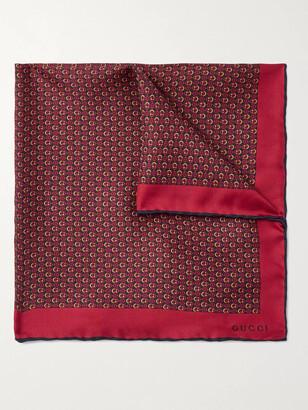 Gucci Monogram-Print Silk-Twill Pocket Square
