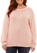 ST. JOHN'S BAY St. John's Bay Long Sleeve Beaded Pearl Sweater-Plus