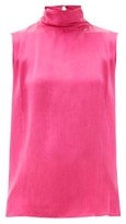 Worme - The High Neck Silk Tank Top - Womens - Pink