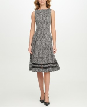 Calvin Klein Mesh-Inset Printed Dress