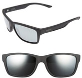 Smith Optics Men's Wolcott 58Mm Polarized Sunglasses - Matte Black/ Blue Mirror Lens