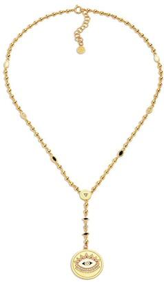 BUDDHA MAMA 20kt yellow gold diamond Evil Eye rosary necklace