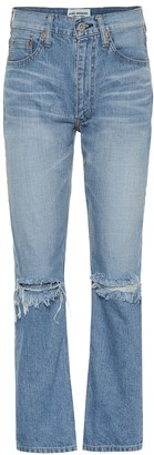 Junya Watanabe High-rise distressed jeans