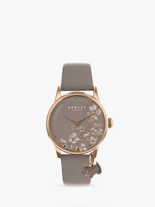 Radley Women's Floral Leather Strap Watch, Mink RY2690