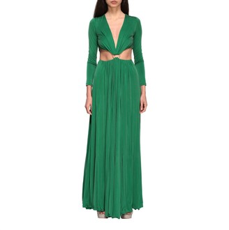 Elisabetta Franchi Long Cut Out Dress With Ring