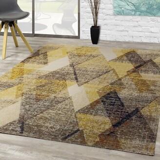 "Bronx Mckillip Diamond Yellow/Gray Indoor/Outdoor Area Rug Ivy Rug Size: Rectangle 5'3"" x 7'7"""