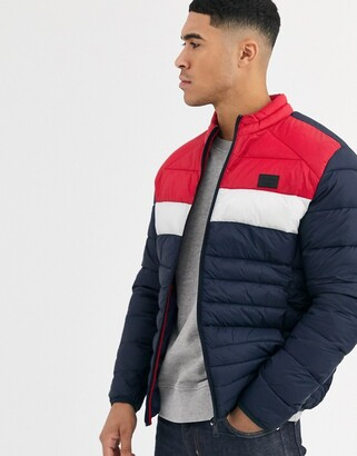 Jack and Jones Essentials puffer jacket in colour blocking with stand collar-Red