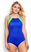 Lands' End Women's Plus Size DDD-Cup High-neck One Piece Swimsuit-Electric Blue/Capri Aqua
