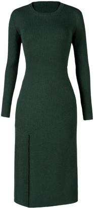 Aqvarossa Asymmetrical Rib Knit Dress - Pine