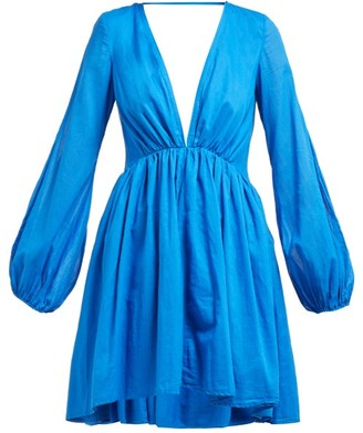 Kalita Aphrodite V-neck Cotton-poplin Dress - Blue