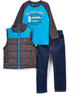 U.S. Polo Assn. Turquoise Vest & Jeans Set - Toddler