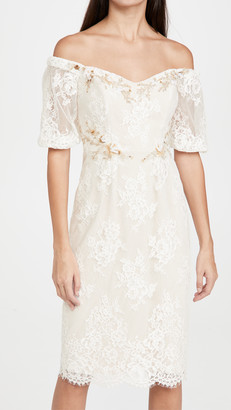 Marchesa Short Bubble Sleeve Sheath Cocktail Dress