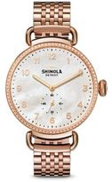 Shinola Canfield Diamond, Mother-Of-Pearl & Rose Goldtone Stainless Steel Bracelet Watch