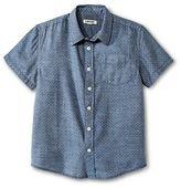 Cherokee Boys' Button Down Shirt Blue Dobby
