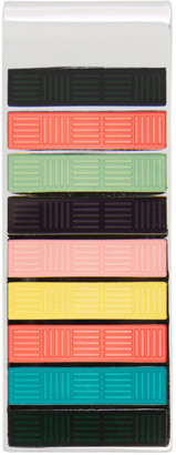 Paul Smith Silver and Multicolor Stripe Tag Money Clip