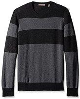 Cashmere Addiction Men's Colorblock Stripe Crew Neck Sweater