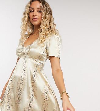Reclaimed Vintage inspired mini tea dress in satin in splice floral print