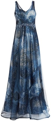 Rene Ruiz Collection Sleeveless Print Point D'Sprit V-Neck Gown