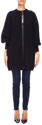 Love Moschino Coat Maxi Bomber With Round Neck With Zip And Logo