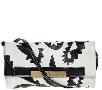 Etro Cream/Black Leather Shoulder Bag