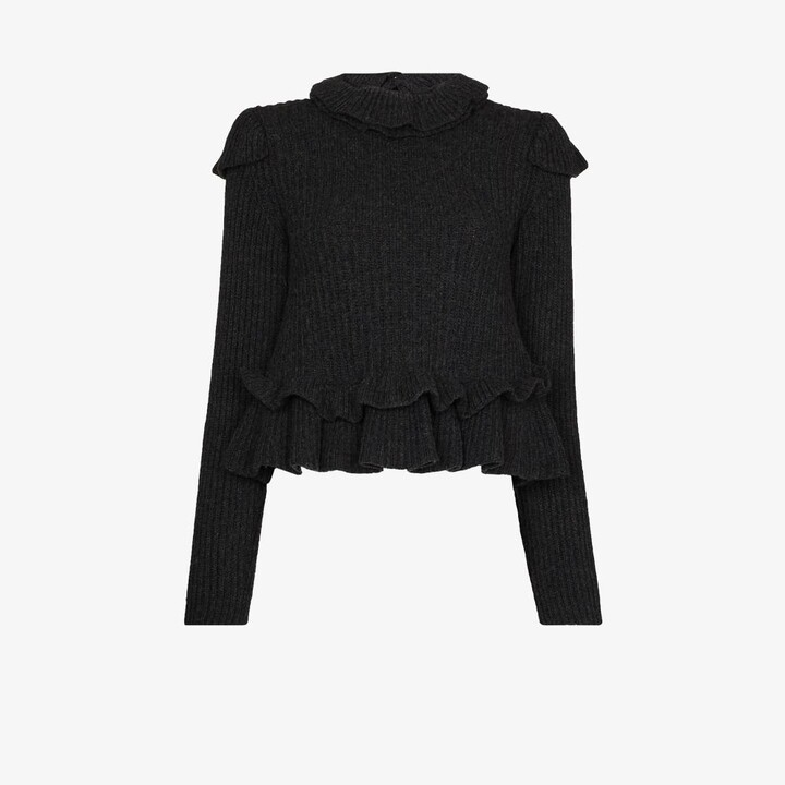 Thumbnail for your product : Ganni Grey Ruffled Wool Sweater