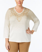 Alfred Dunner Plus Size Tis The Season Collection Embroidered Ombré Sweater