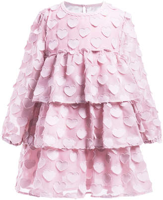 Imoga Chiffon Heart Long-Sleeve Dress, Size 4-6