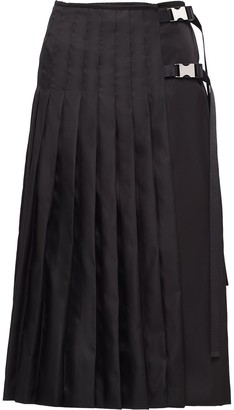 Prada Buckle-Detail Pleated Midi Skirt