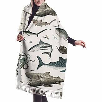 Yinyinyin. Cashmere Scarf Shark Octopus Whale Womens Scarf Large Soft Silky Pashmina Cashmere Shawl Wrap