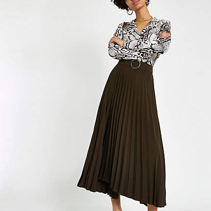River Island Brown wrap pleated midi skirt