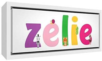 Camilla And Marc Little Helper Canvas with Solid Wood Frame White Colour Example with Girl's Name Zelie 25 x 63 x 3 cm, Medium