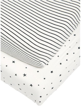 Mamas and Papas 2 Cot/Bed Fitted Sheets - Starry Skies