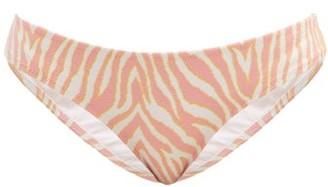 Heidi Klein Zebra Stretch-jacquard Bikini Briefs - Pink Print