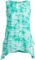 Seven Karat Women's Blouses Green - Green Abstract Sidetail Sleeveless Top - Plus
