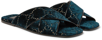 Gucci Leather-Trimmed Logo-Embroidered Velvet Slides - Men - Blue