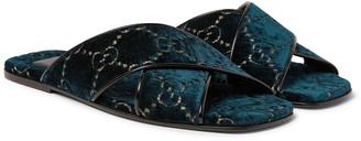 Gucci Leather-Trimmed Logo-Embroidered Velvet Slides