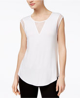 Bar III Mesh-Trim High-Low Top, Only at Macy's