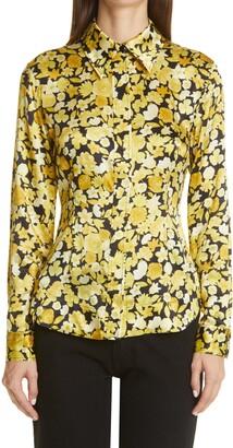 Ganni Floral Stretch Silk Shirt