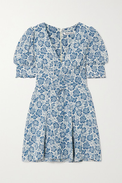 Reformation Steph Lace-up Floral-print Georgette Mini Dress - Light blue